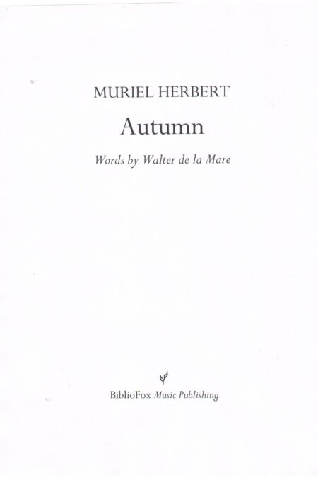 Cover page of Herbert Autumn