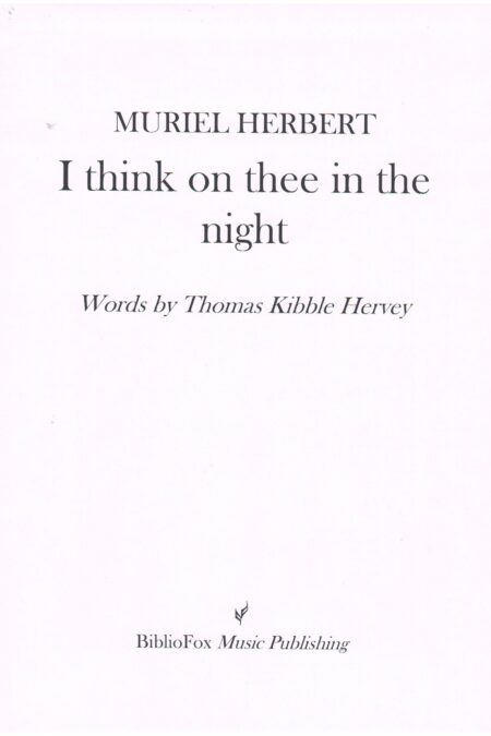 Cover page of Herbert I think on thee in the night