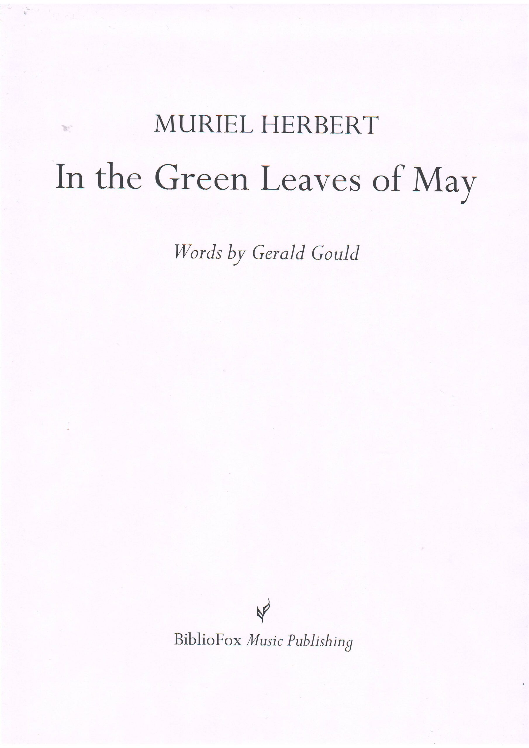 Cover page of Herbert In the Green Leaves of May