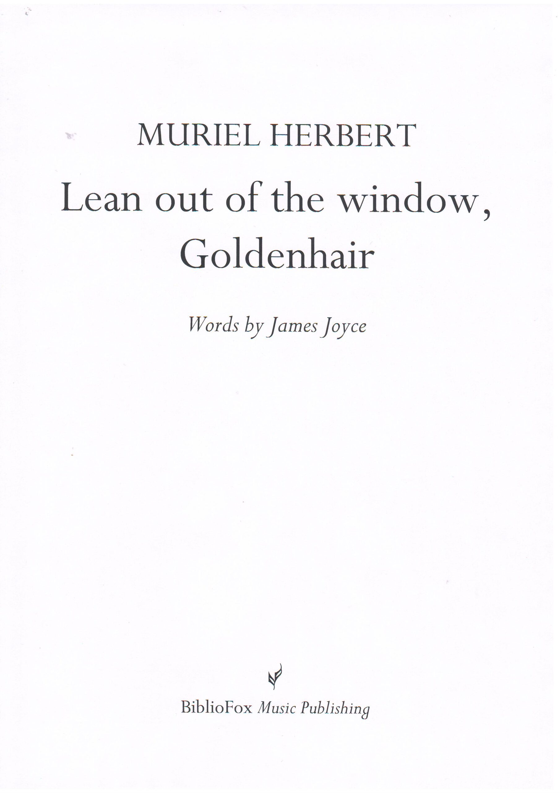 Cover page of Herbert Lean out of the window
