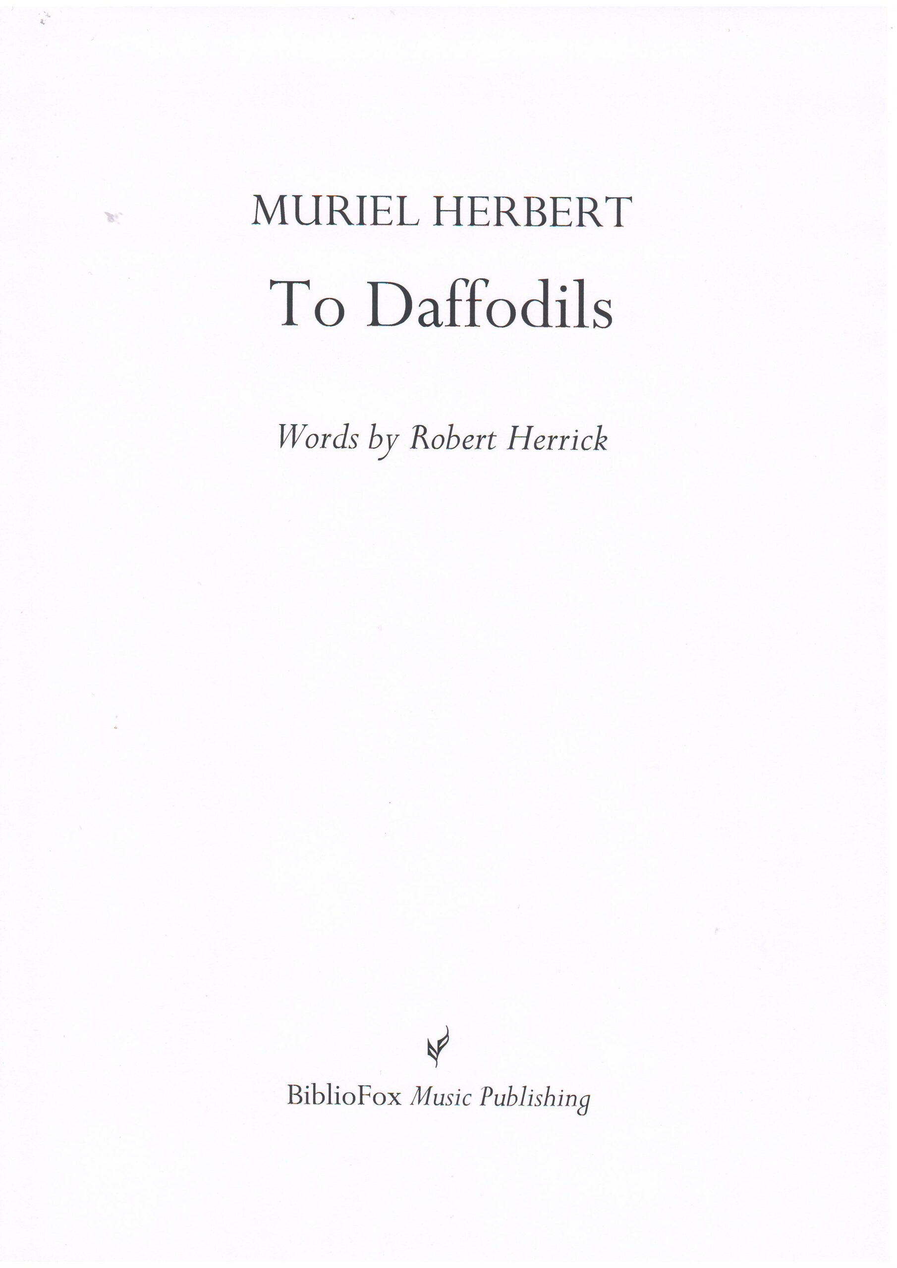 Cover page of Herbert To Daffodils