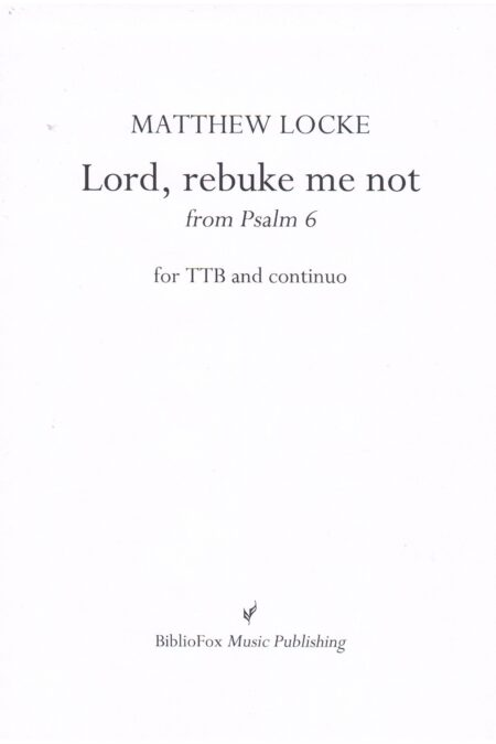 Cover page of Locke Lord, rebuke me not