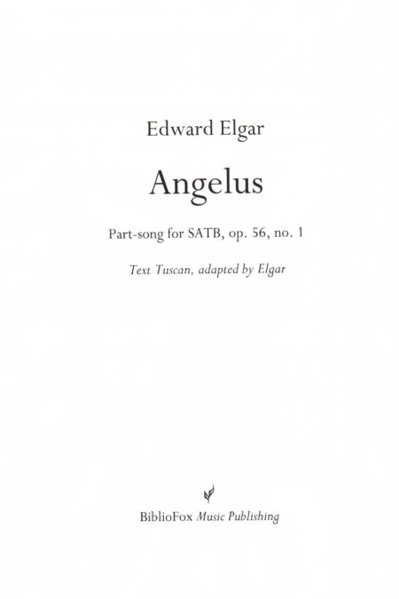 Cover page of Elgar Angelus