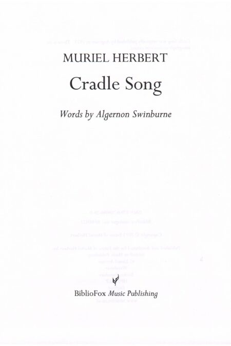 Cover page of Muriel Herbert Cradle Song