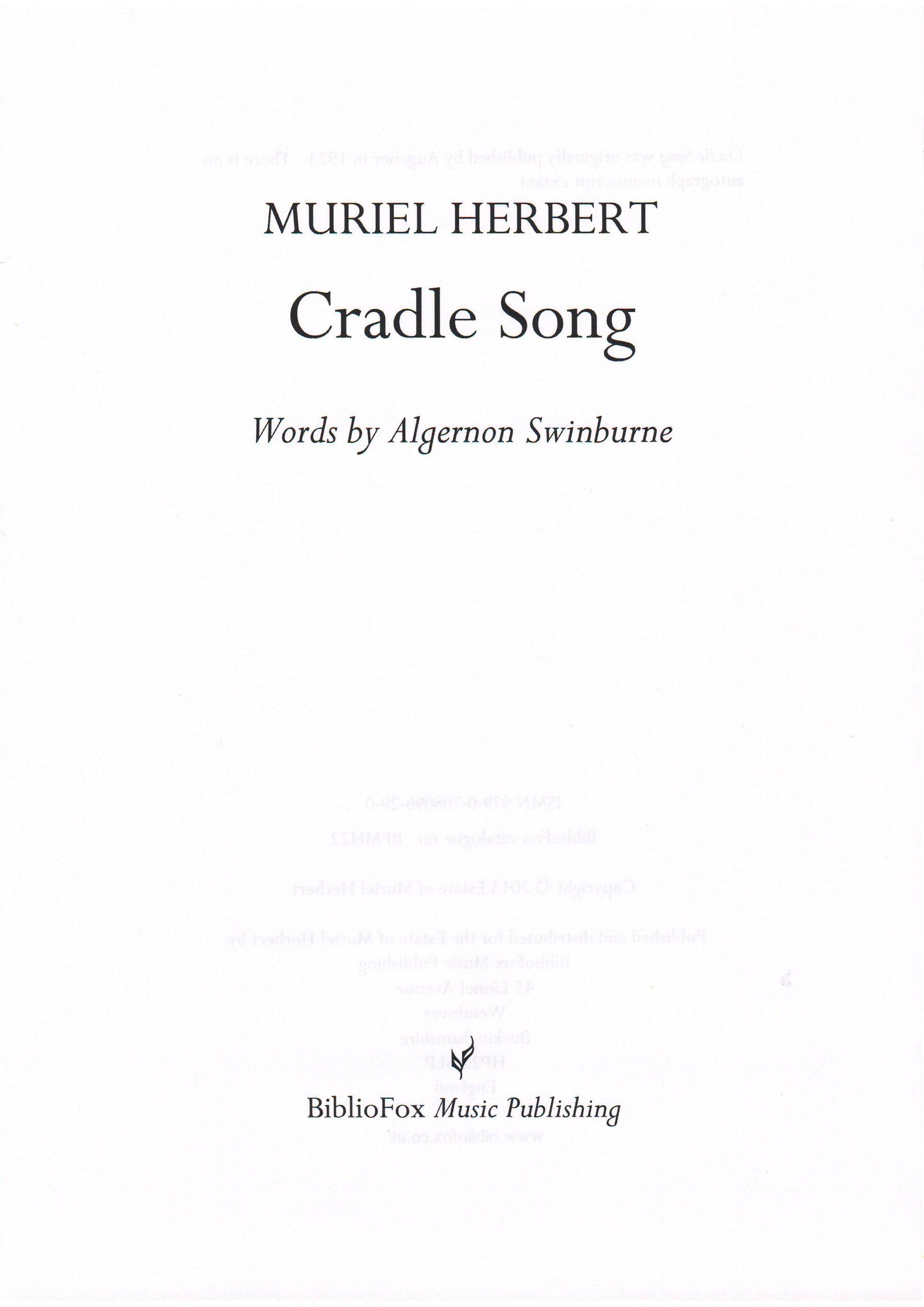 Cover page of Muriel Herbert Cradle Song
