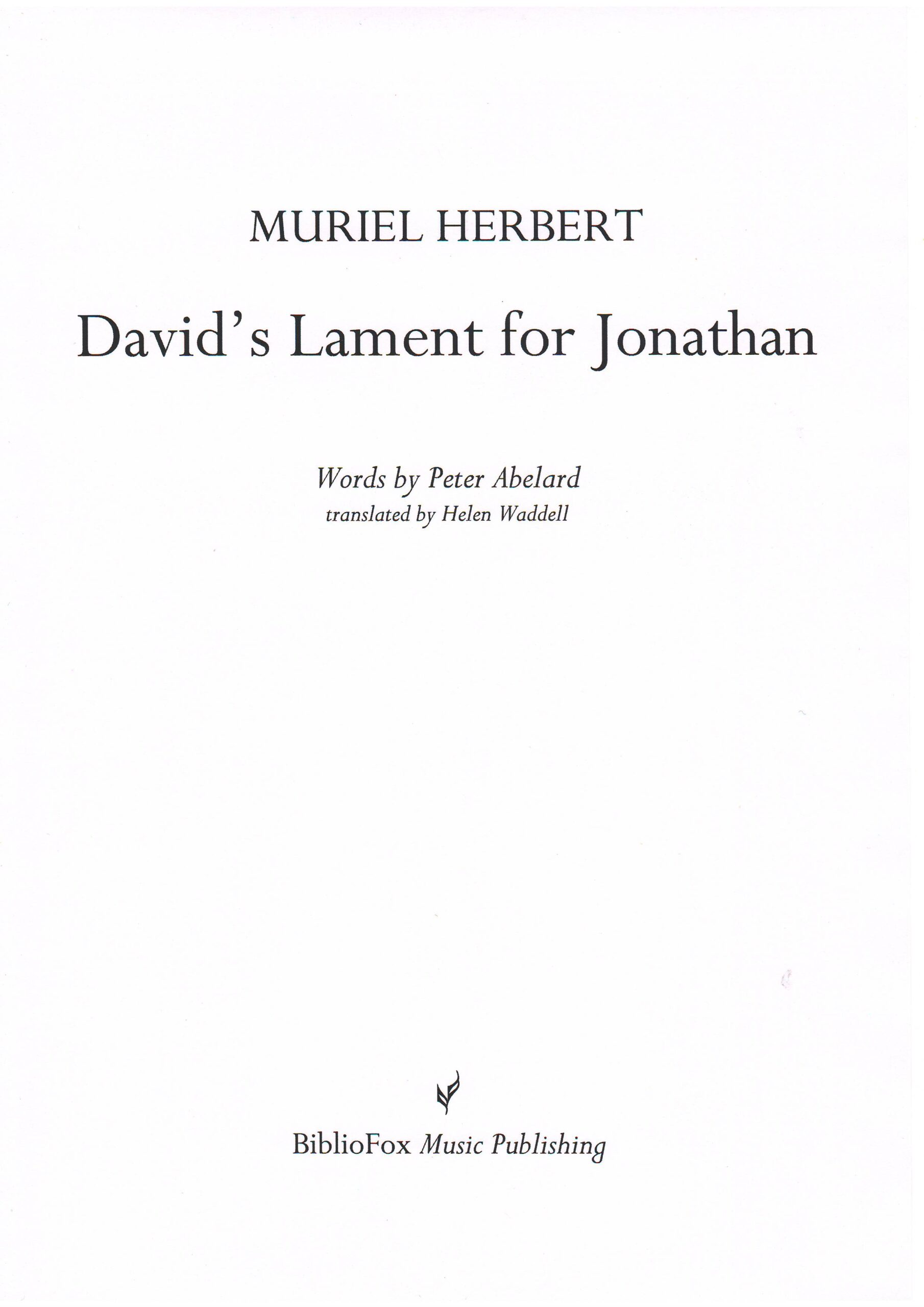 Cover page of Herbert David's Lament for Jonathan