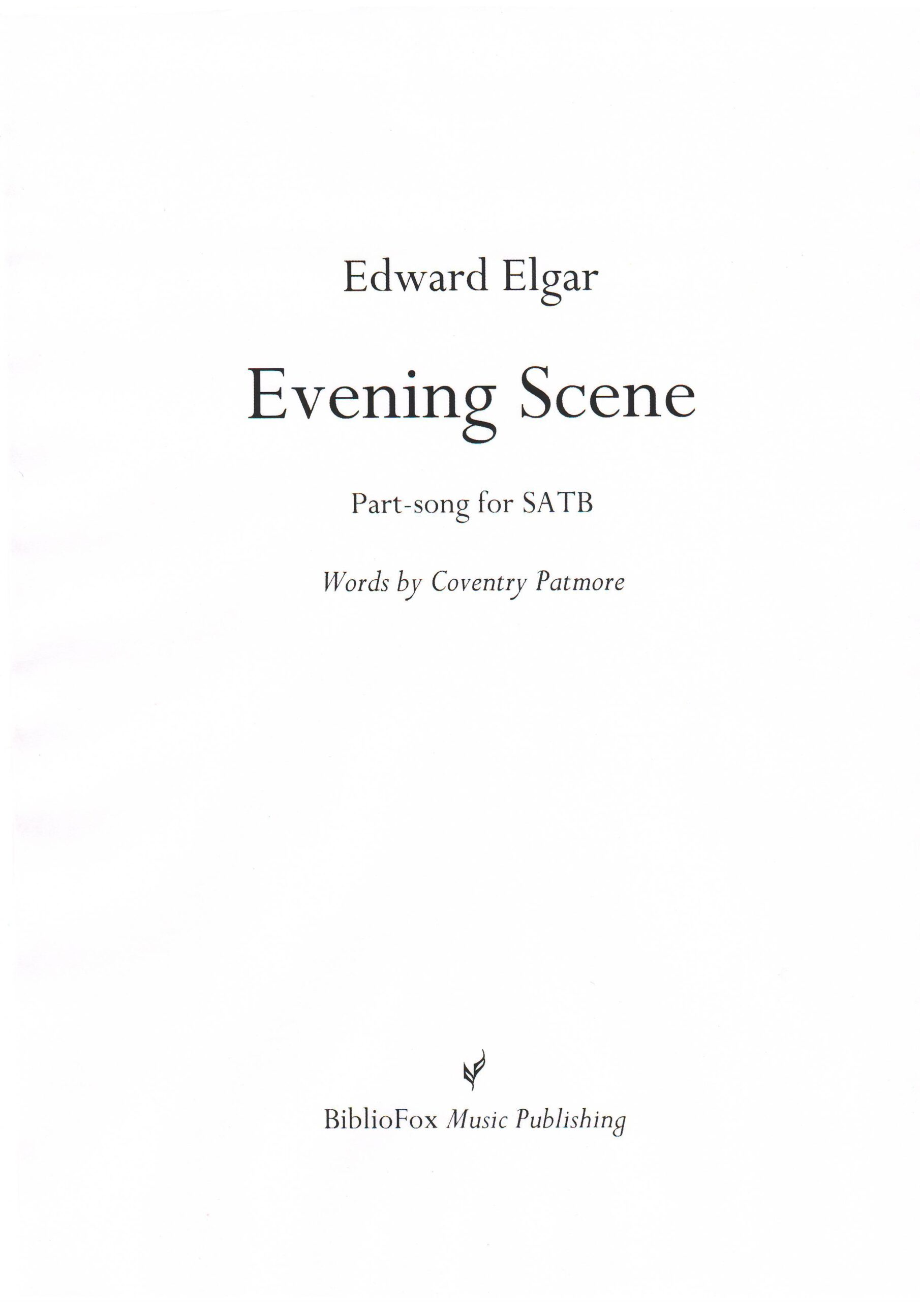 Cover page of Elgar Evening Scene