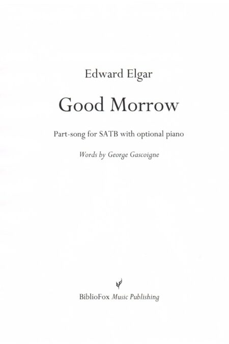 Cover page of Elgar Good Morrow