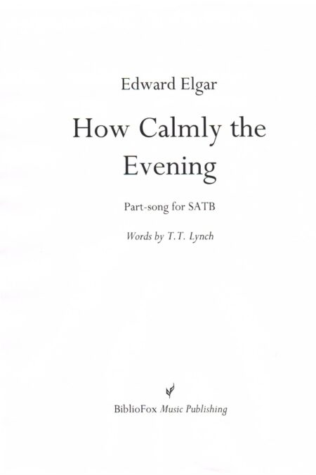 Cover page of Elgar How Calmly the Evening