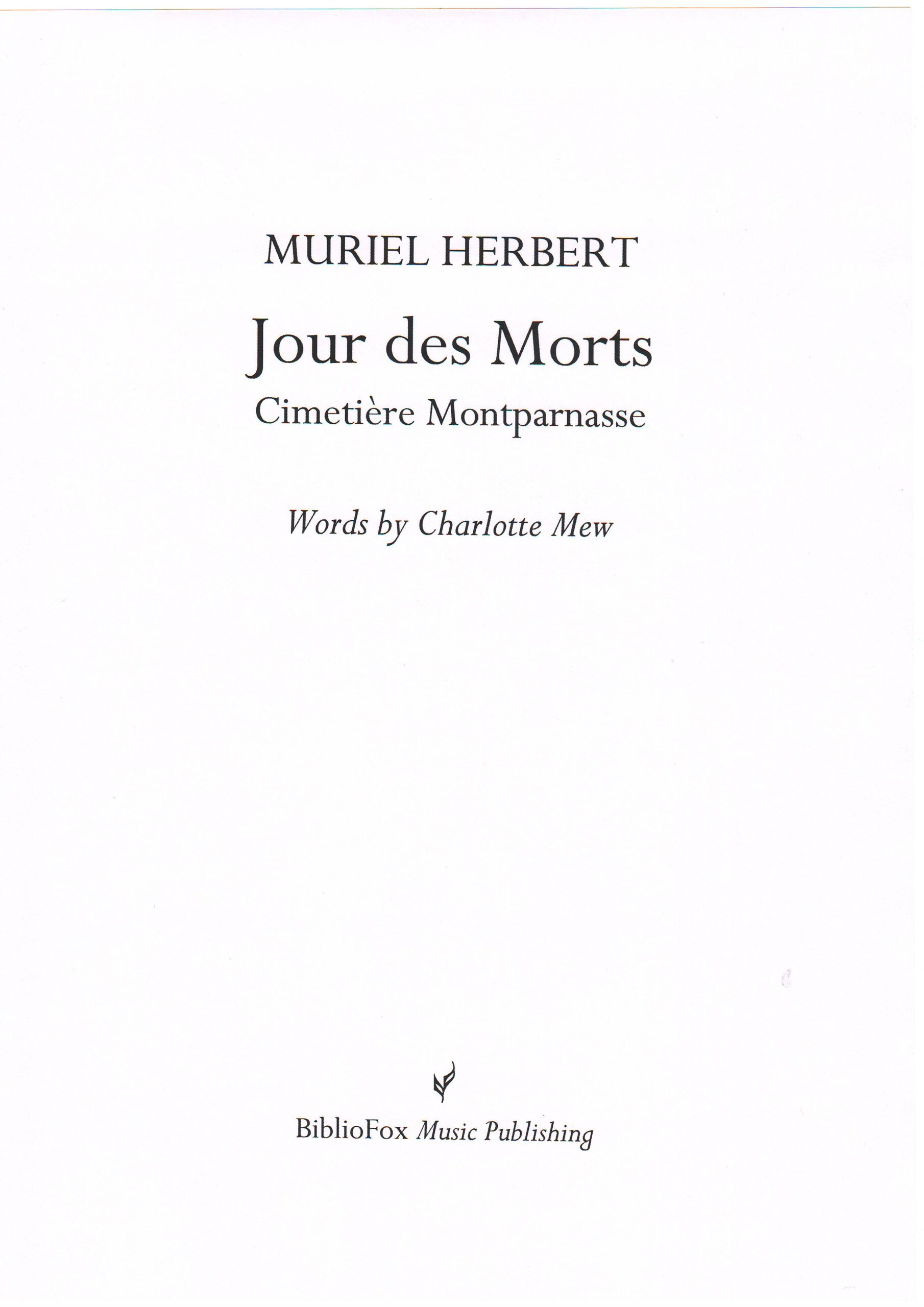 Cover page of Herbert Jour des Morts