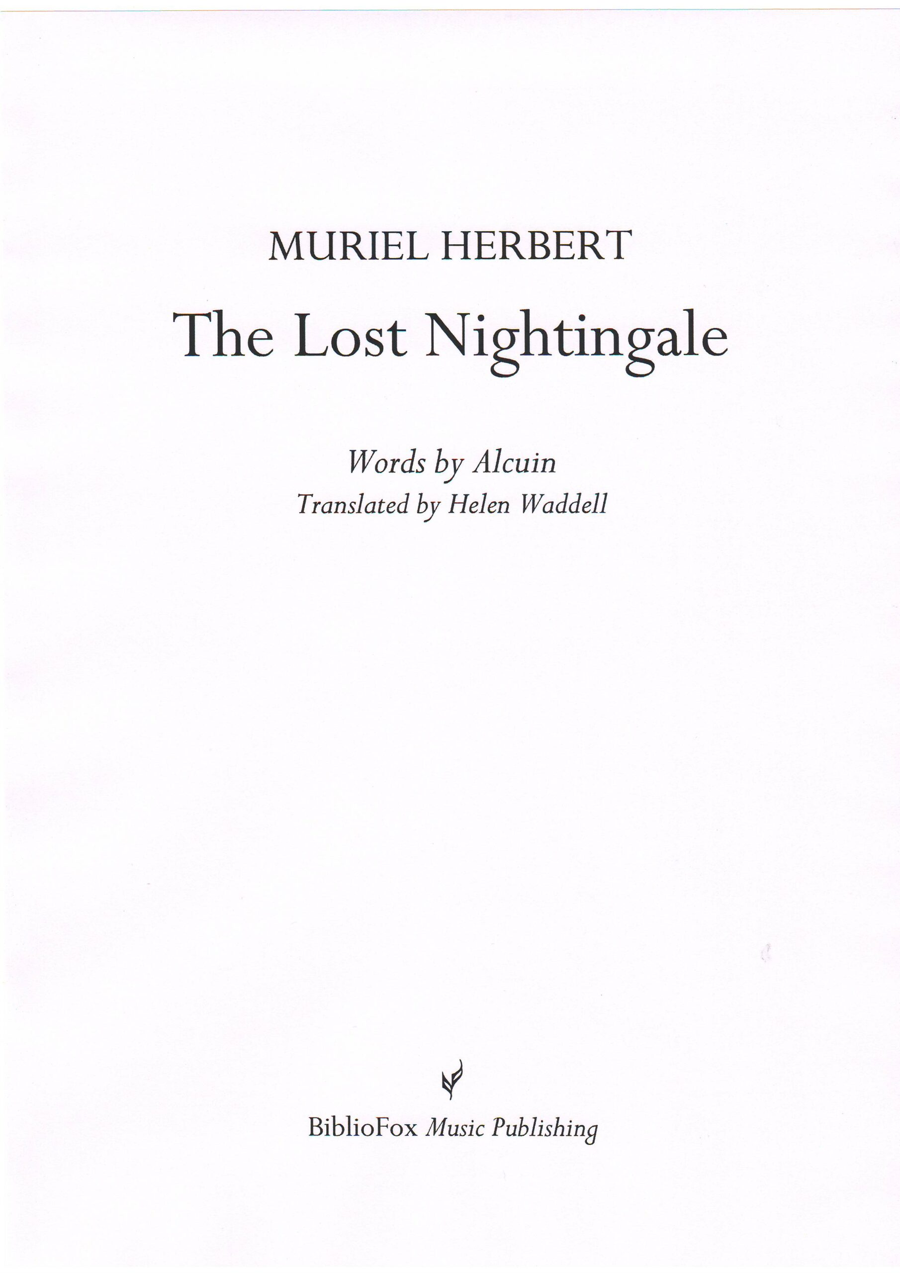 Cover page of Herbert The Lost Nightingale