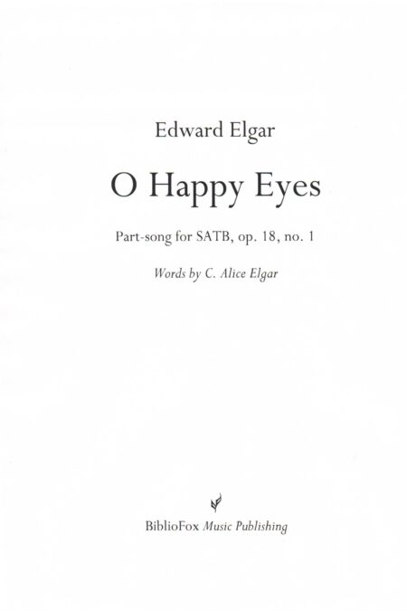 Cover page of Elgar O Happy Eyes