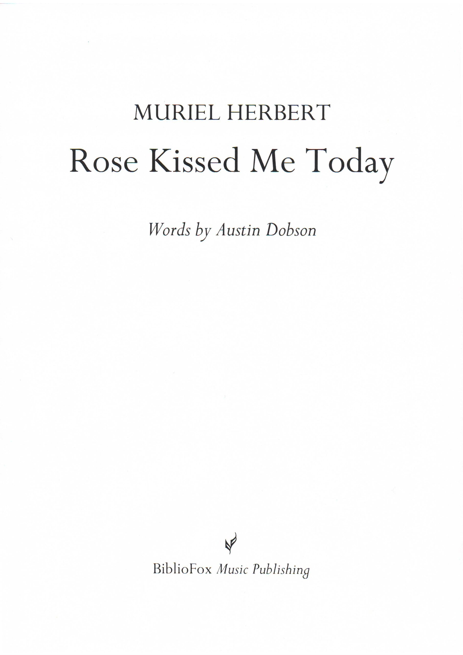 Cover page of Herbert Rose Kissed Me Today