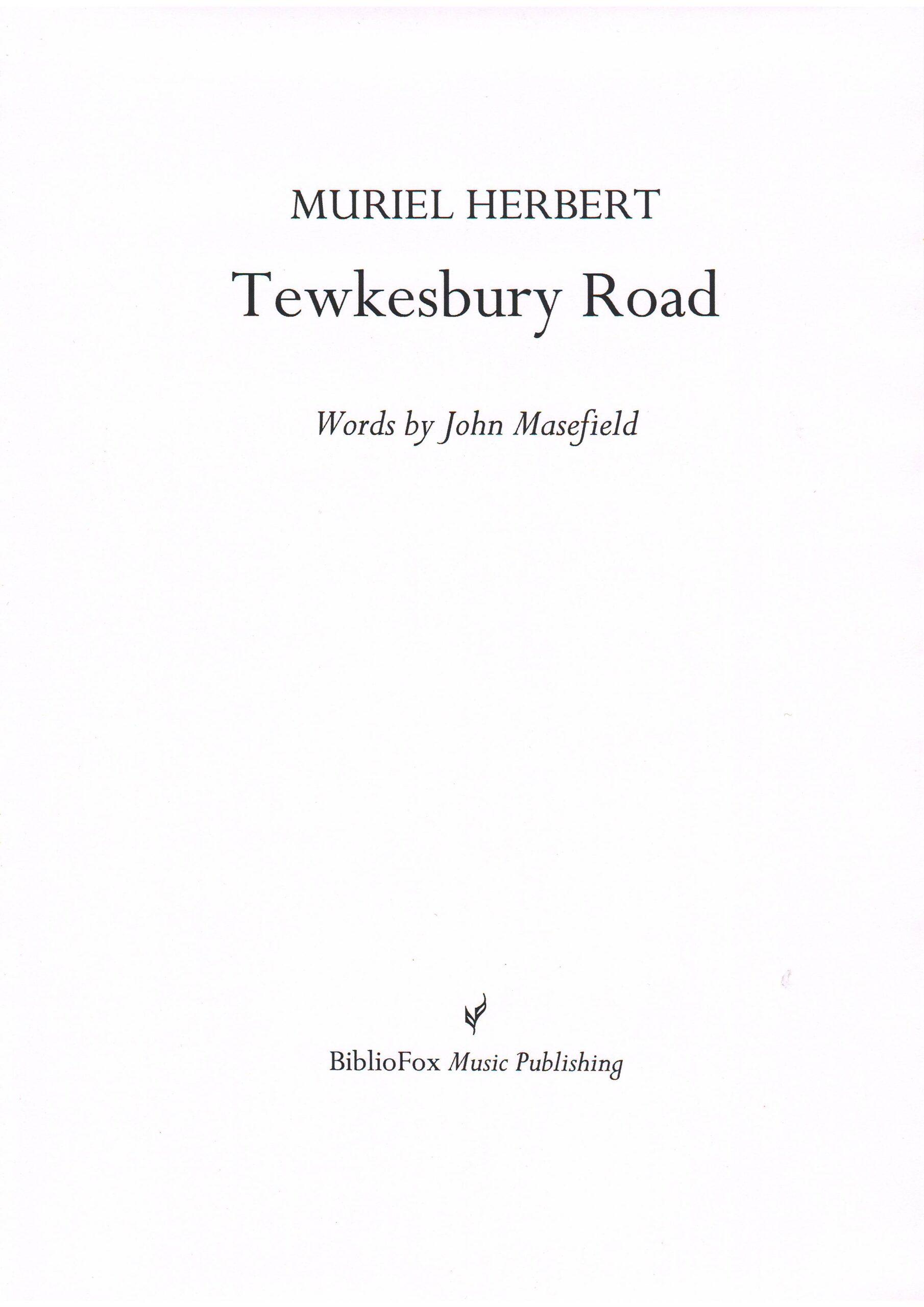 Cover page of Herbert Tewkesbury Road