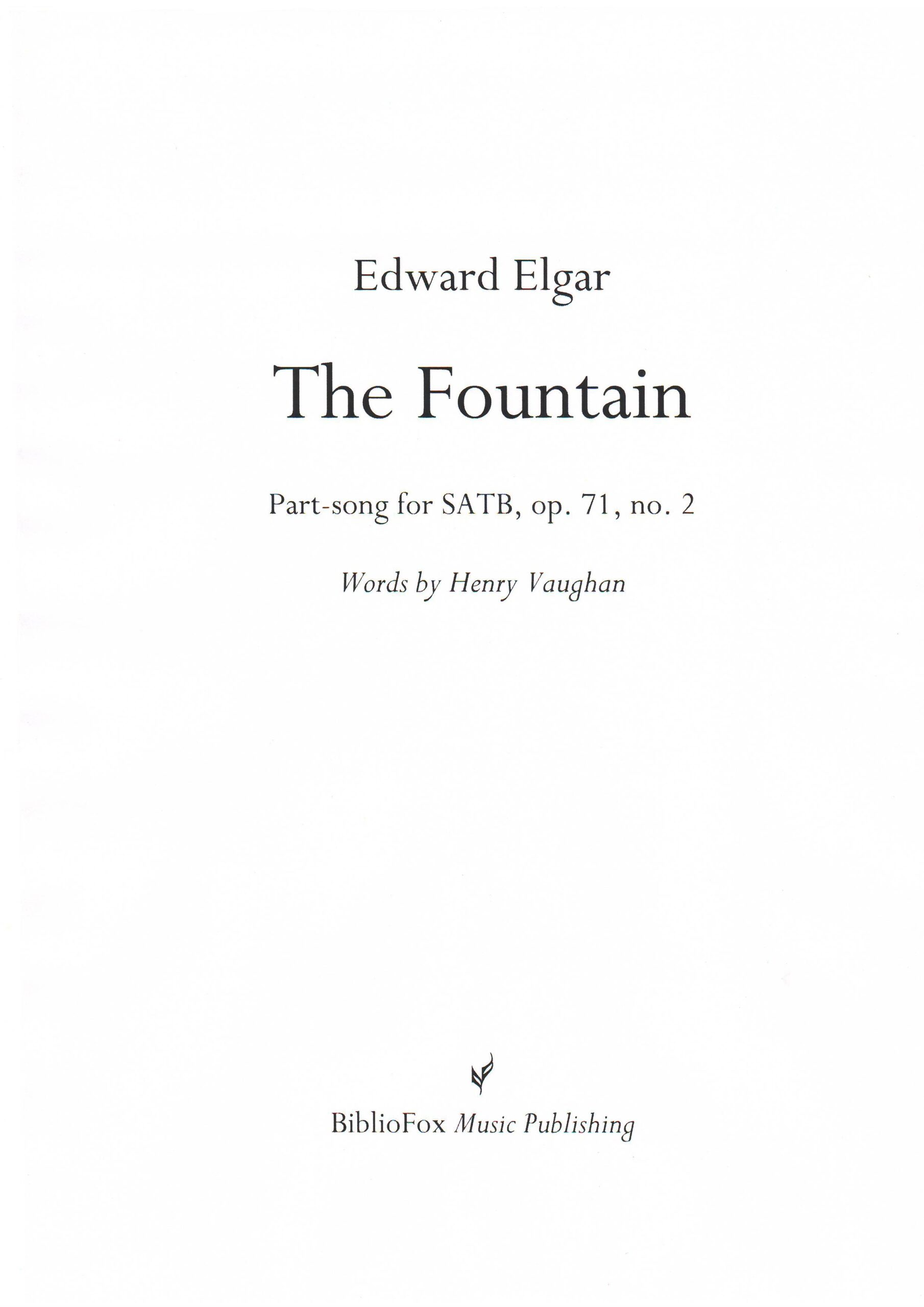 Cover page of Elgar The Fountain