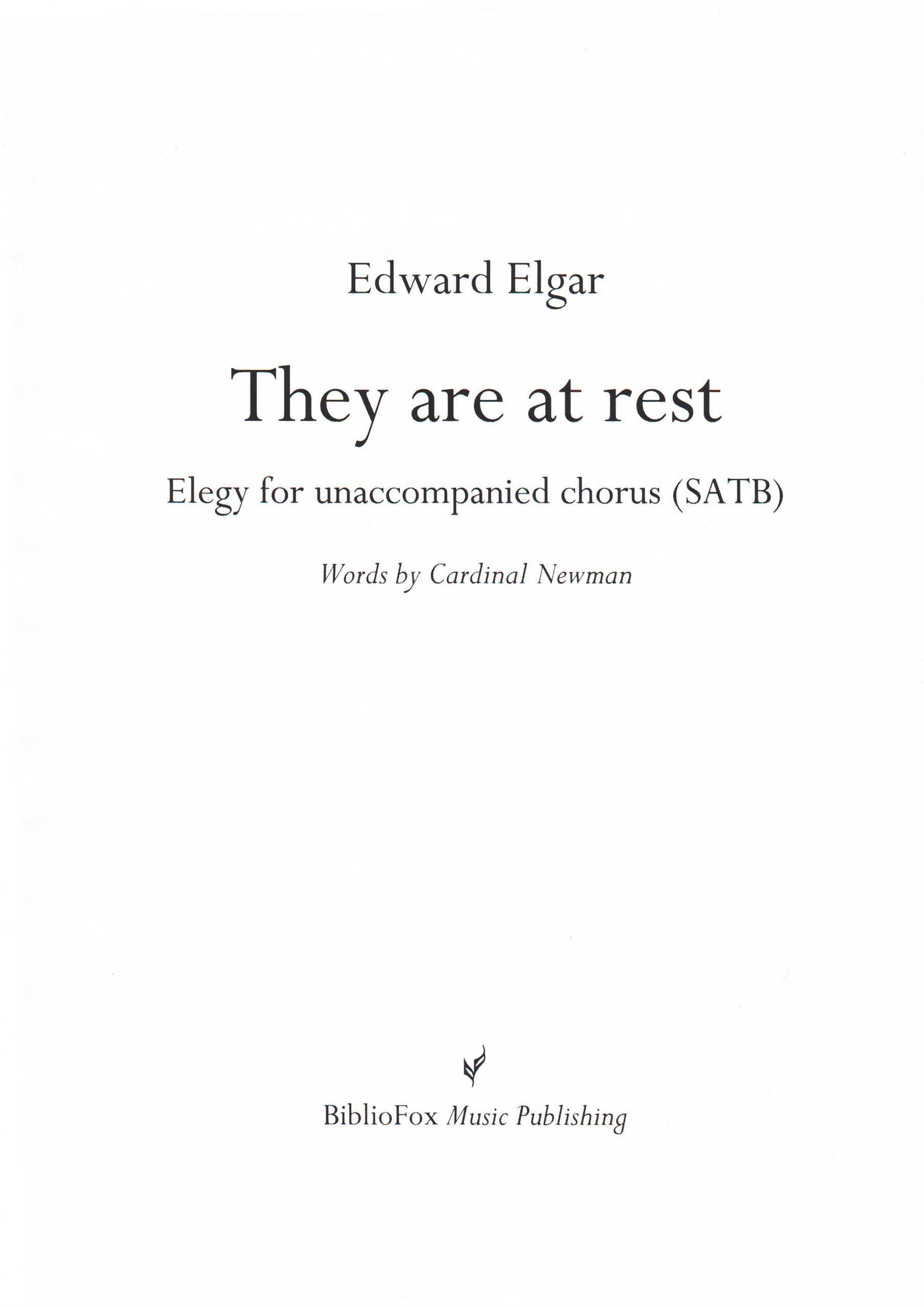 Cover page of Elgar They are at rest