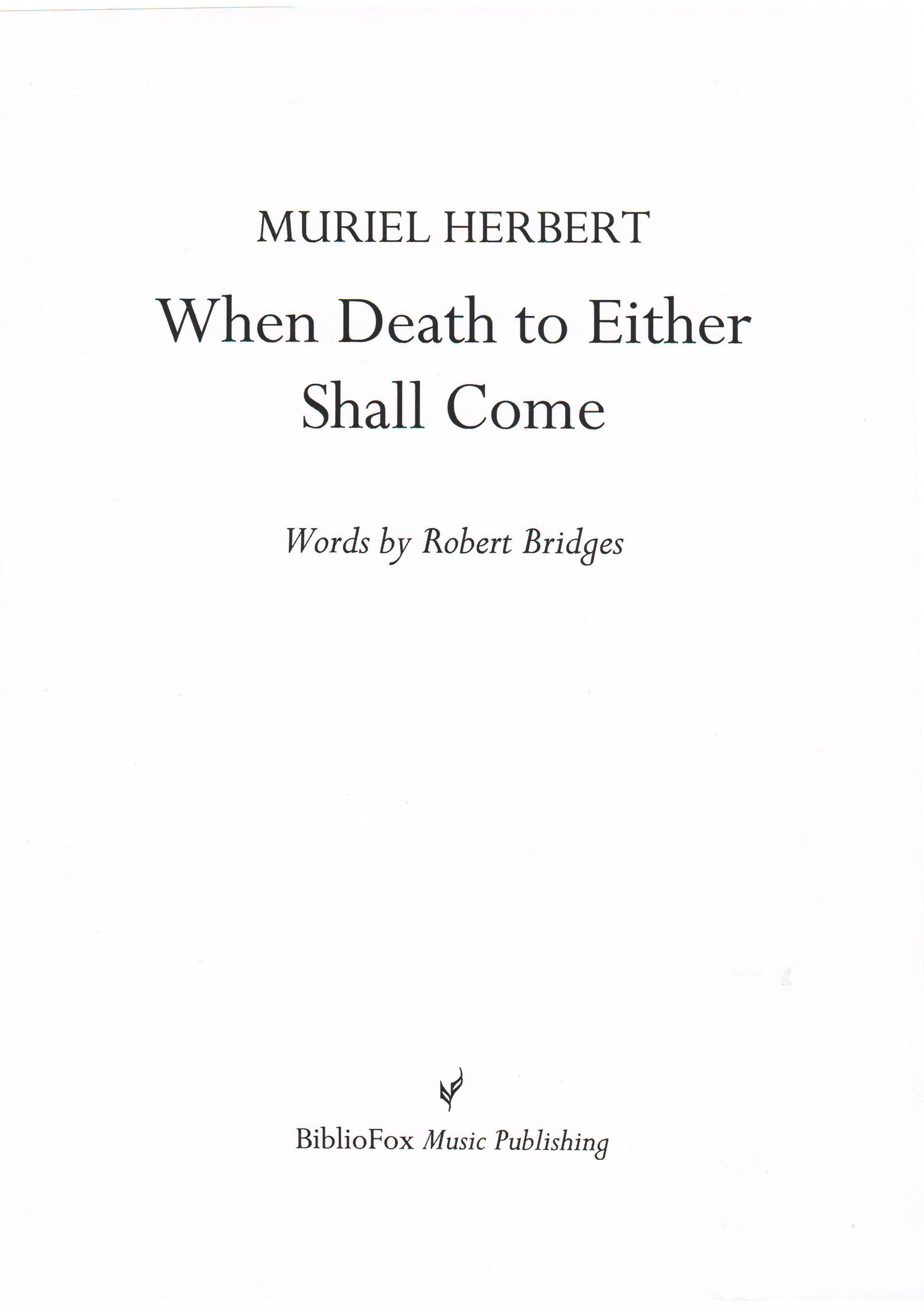 Cover page of Herbert When Death to Either Shall Come